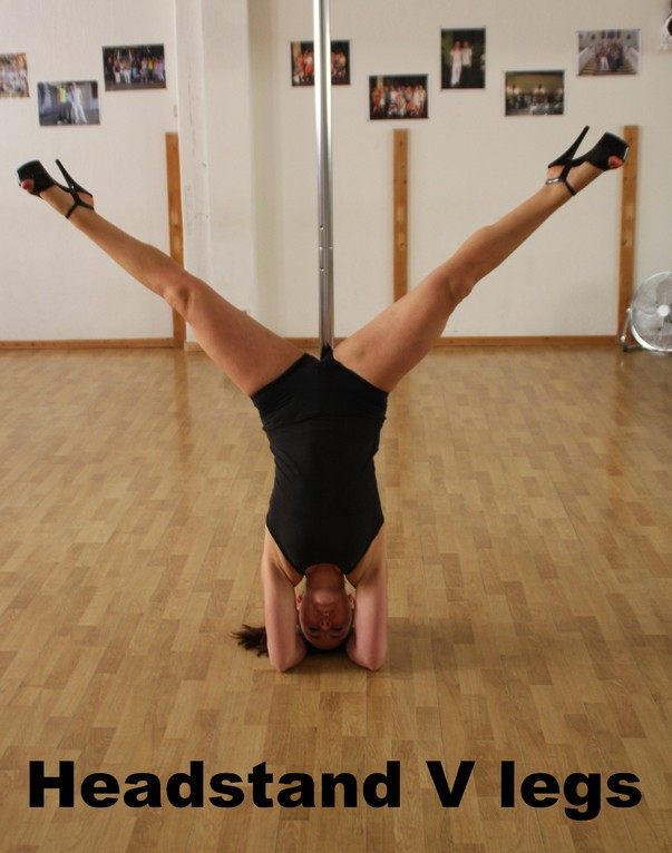 head stand V legs / elbow stand