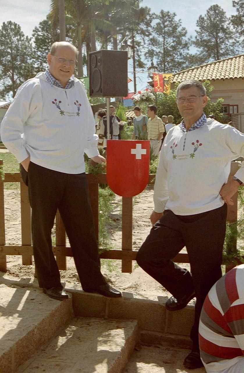Toni und Jörg haben das Schwyzer-Wappen entdeckt