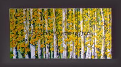 Birken im Herbst, Acryl auf Leinwand, 2017, 150x50