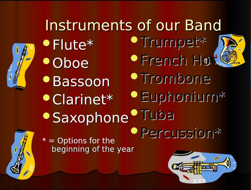 これらの楽器を選択できます
