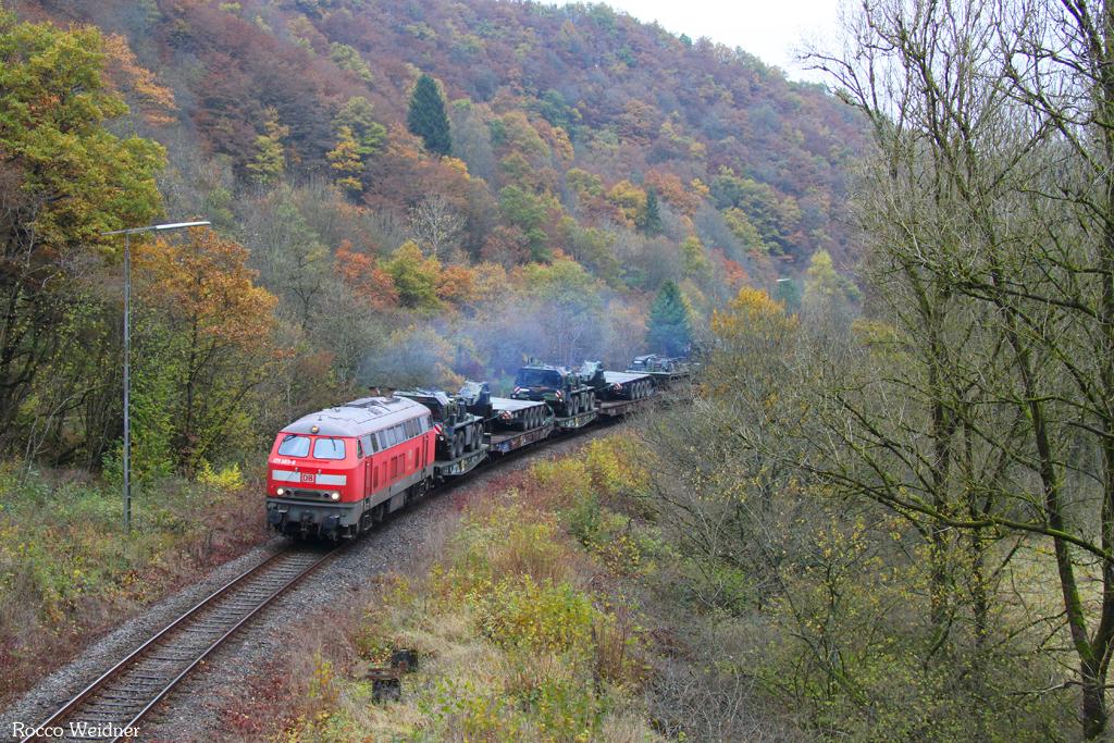 218 003 mit M 62677 Neunkirchen(Saar) Hbf - Baumholder (Sdl.), Heimbach(Nahe) 12.11.2016