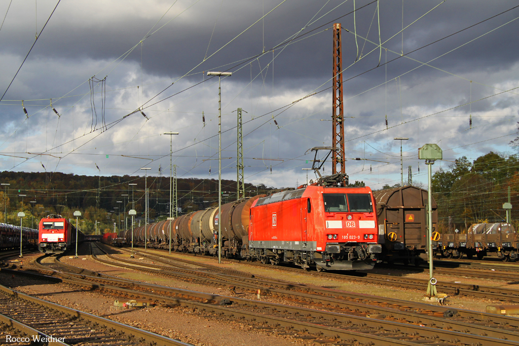 185 023 mit GC 44422 Stendell (PCK) - Forbach/F (Salaise) (Sdl. Reinbenzol), Saarbrücken Rbf 02.11.2016