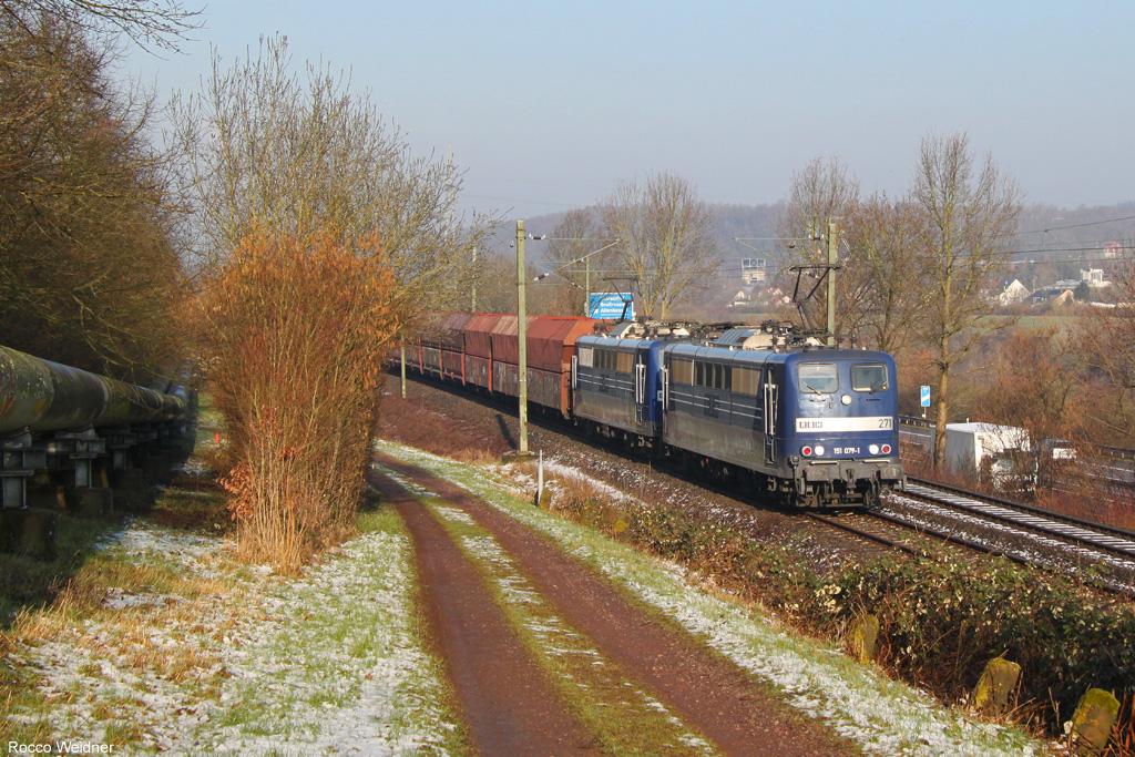 DT 151 079 + 151 084 mit GM 62588 Fürstenhausen - Oberhausen West Orm (Sdl. leere Fal), Gersweiler 08.03.2016