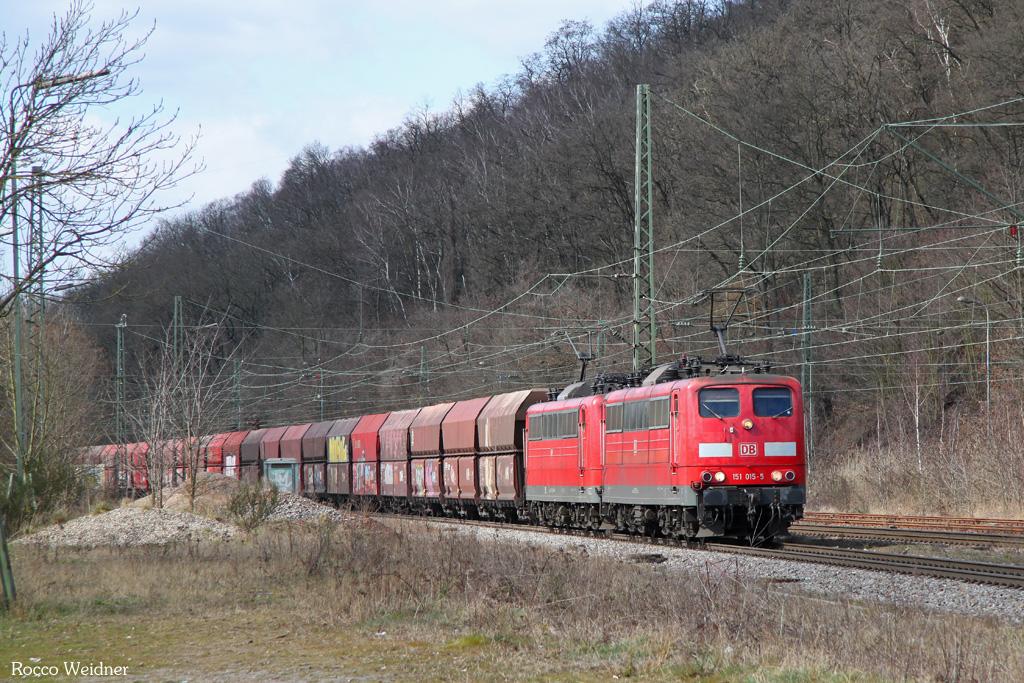 DT 151 015 + 151 ... mit GM 98728 (Oberhausen West Orm) Koblenz-Lützel Mitte - Fürstenhausen (Sdl.Kohle, ex 48745), Luisenthal(Saar) 22.03.2016