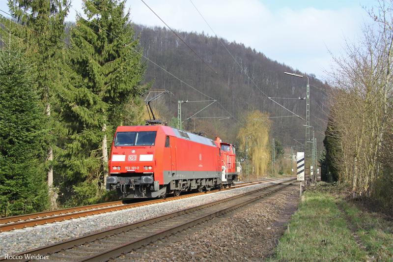 152 101 mit SW 52091 Einsiedlerhof - Saarbrücken Rbf Nord (Sdl. Schadwagen), Scheidt(Saar) 13.03.2016