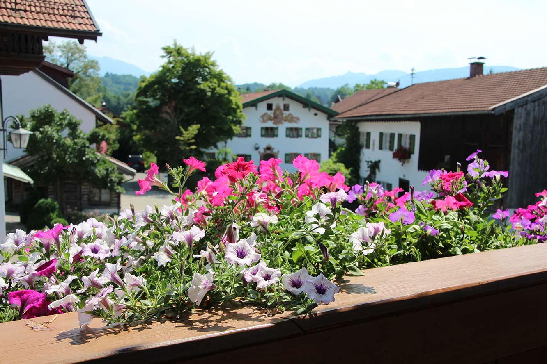 Südbalkon mit Berg- und Dorfblick