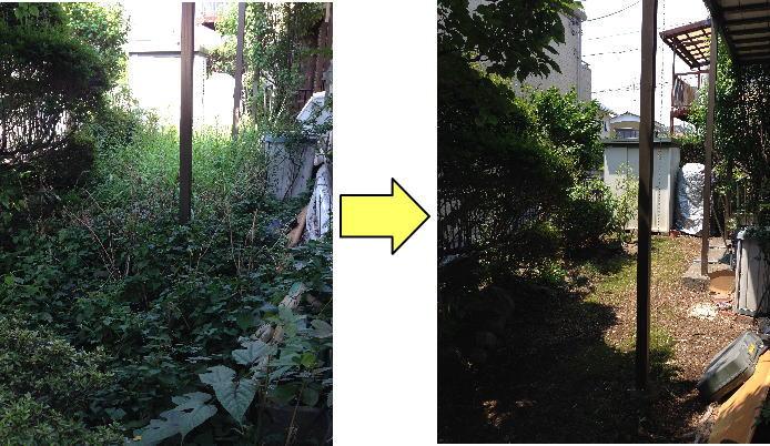 伸び放題となってしまったお庭の草むしり/草刈り作業依頼で見違えるほどきれいに