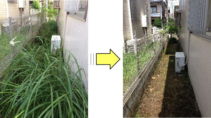 高齢化に伴いお庭の草むしりもままならなくなった個人邸の草むしり作業依頼 きれいさっぱり