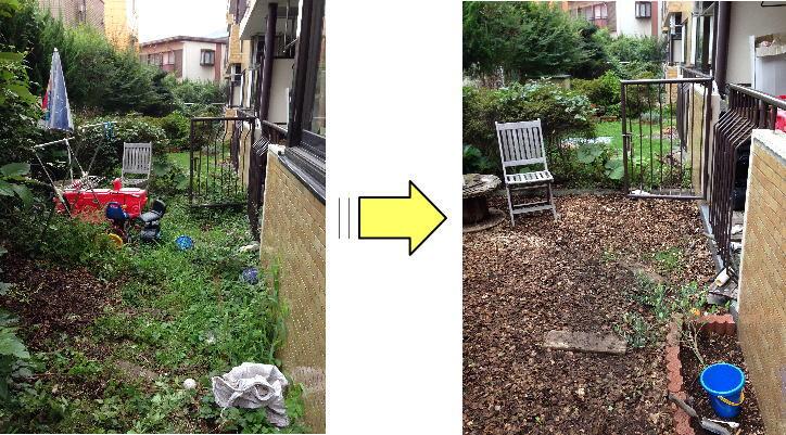 マンションお庭の草むしり作業