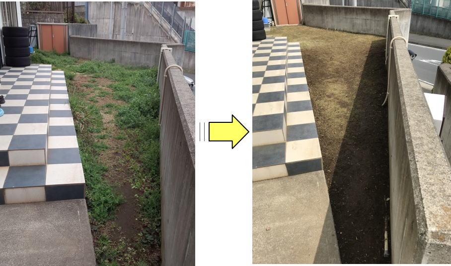 草が伸び放題となる前に草刈り作業依頼頂くことで近隣へ草の胞子や種の飛散減少