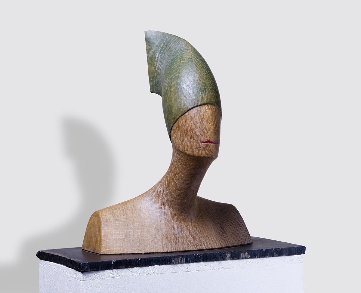 Grüner Hut, Eiche, Höhe ca. 35 cm