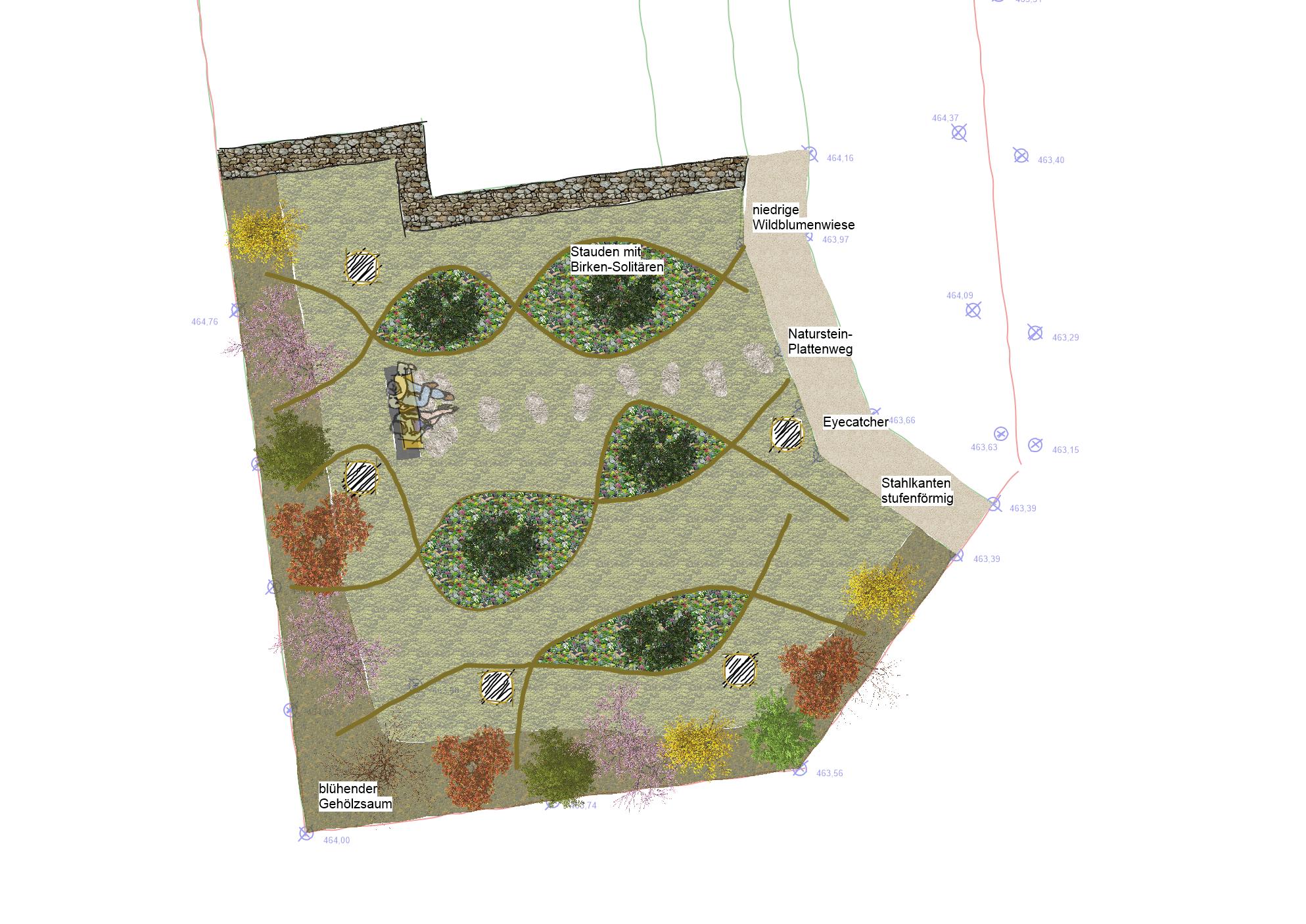 Alternative 5: fließende Formen mit Birken-Solitären