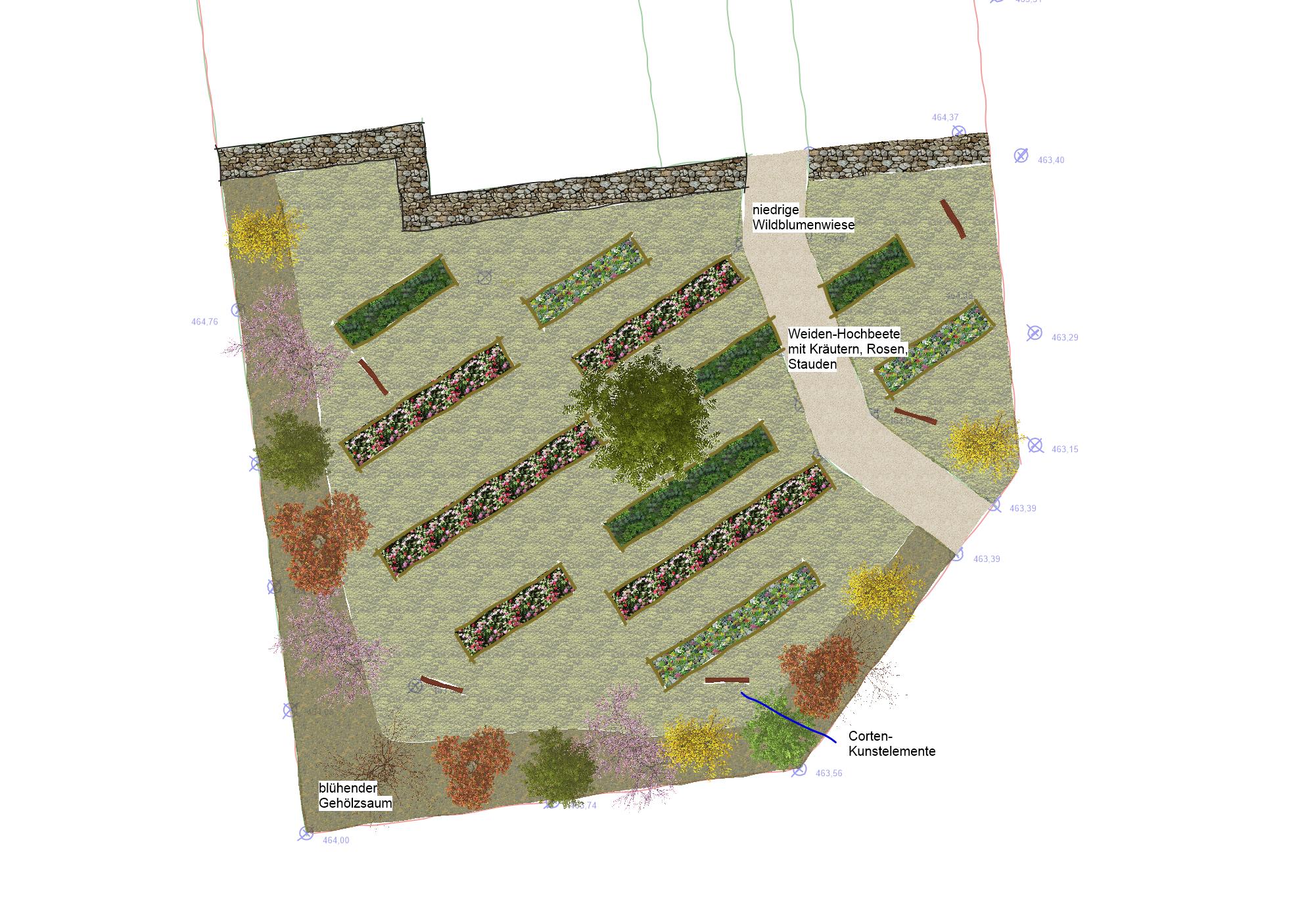 Alternative 3: lineale Pflanztröge mit unterschiedlicher Bepflanzung und Kunstelementen