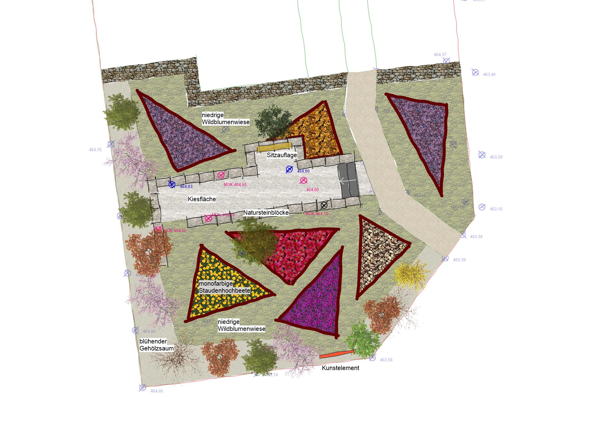 Alternative 4: Pflanzdreiecke mit Sitzmauer
