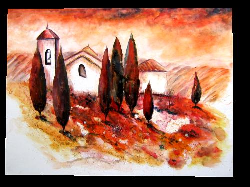 .-. Kirchturm in der Toskana