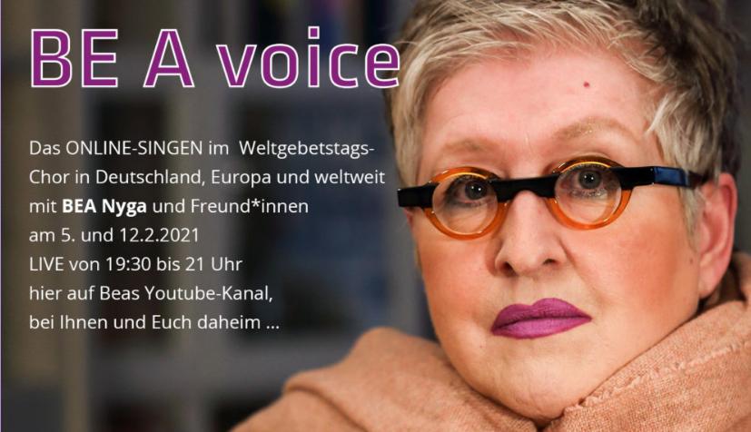 BE A voice - Online-Singen mit Bea Nyga & Freund*innen