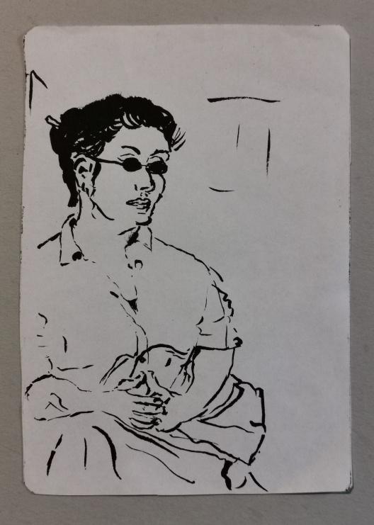 Frau in der Bahn, Tusche auf Papier2001