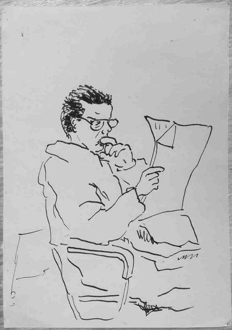 Lesender, Tuschestift auf Papier, 1991