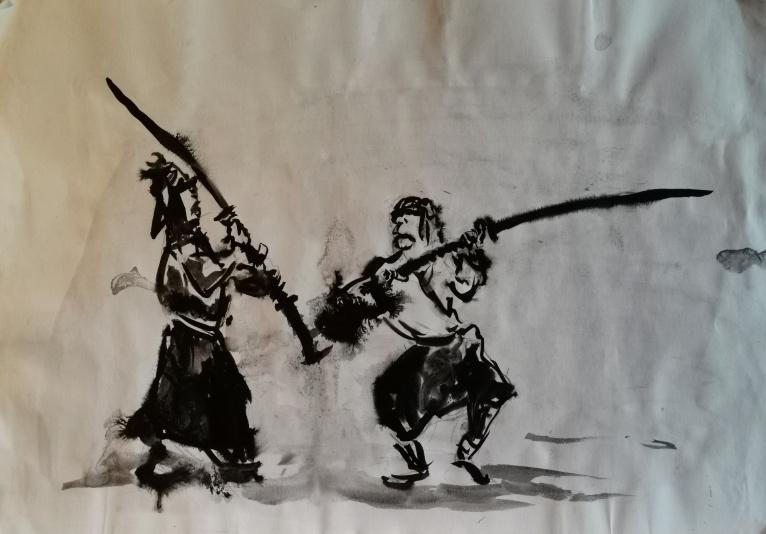 Die Duellisten, Tusche auf Bütten, 1983