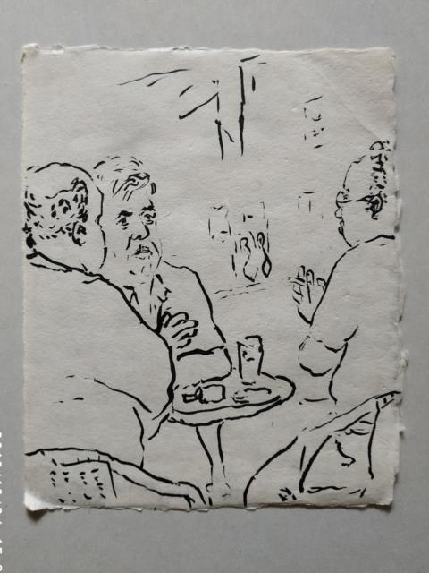 Strassencafe in Hadera, Tusche, 2001