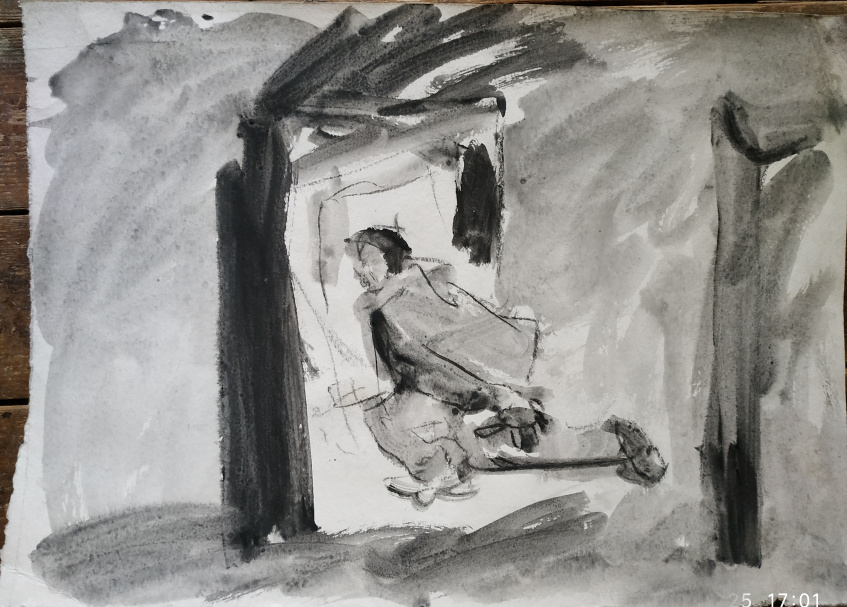 Mann rennt durch zwei Türen, Tusche auf Bütten, 1993
