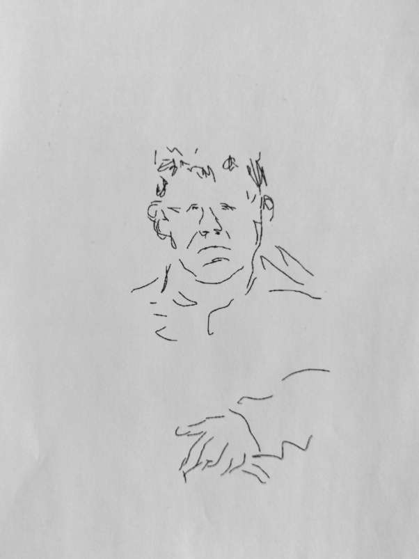 Mann auf Wartebank, Screenzeichnung, 2011