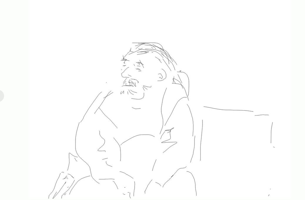Mann auf einer Bank, Screenzeichnung, 2014