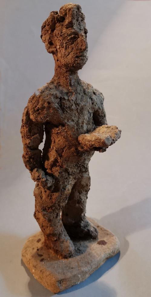 Deklamateur, ungebrannter Ton, Leinöl, 24cm, 1991