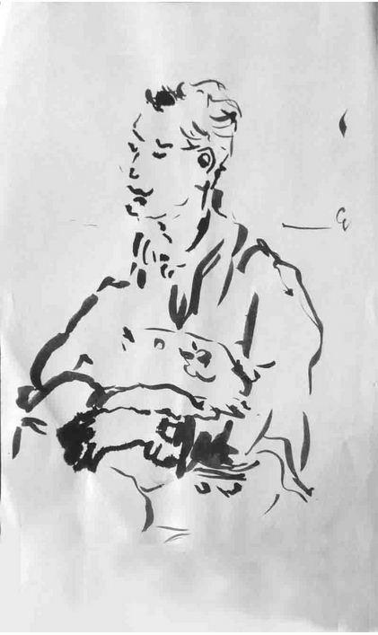 In der Bahn, Tusche auf Papier, 2017