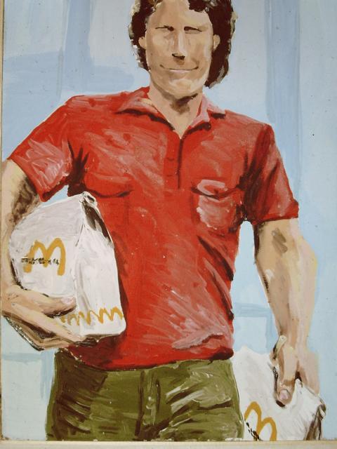 Sascha geht zum Auto, Acryl auf Hartfaser, 1983