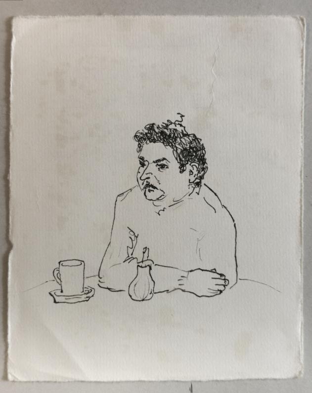Im Cafe, Tuschestift auf Papier, 1989