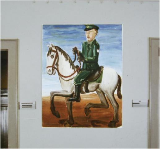 Polizist auf Pferd, Acryl auf Harfaser, 100x130cm, 1983