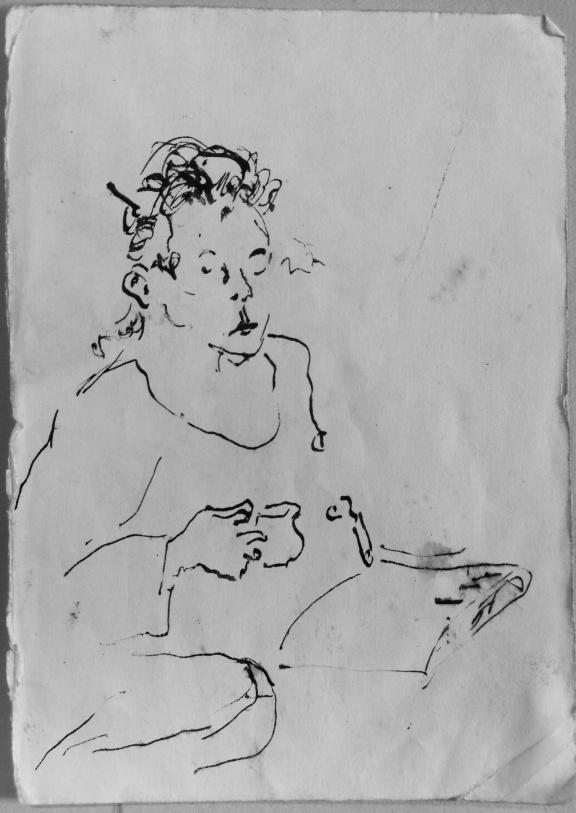 Frau beim Morgenkaffee,  Screenzeichnung, 2020
