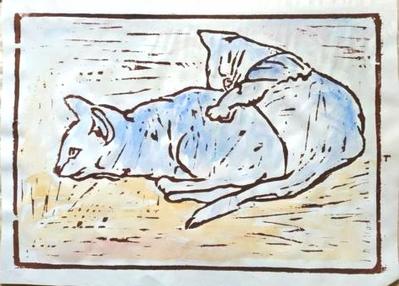 Zwei Katzen, Holzschnitt, 1985