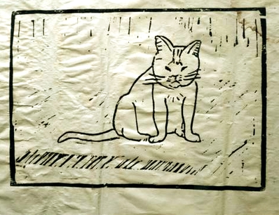 Kater Tiger, Holzschnitt, 1987