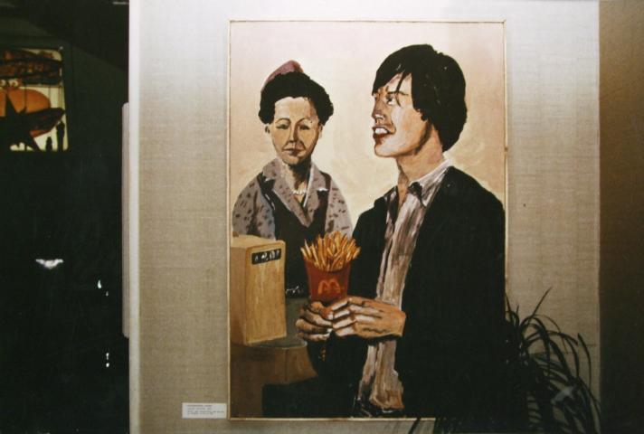 M. Jagger im Restaurant, Acryl auf Hartfaser, 100x130cm, 1983