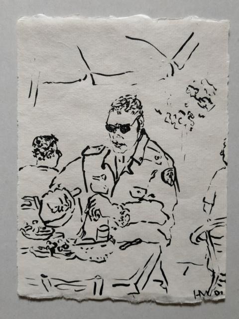 Polizist bei Kaffee, Tusche auf Bütten, 2001
