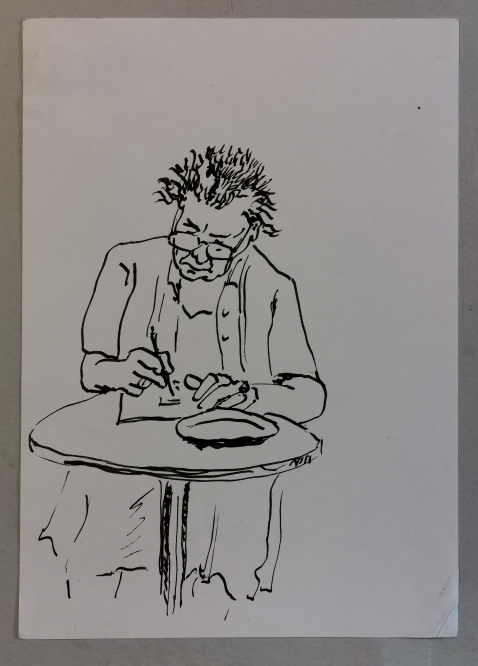 Schreibende Frau, Tusche auf Bütten, 1990