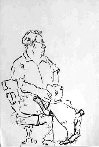 Mann mit Hund, Tusche auf Papier, 2010