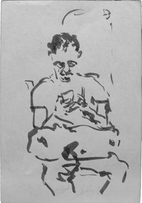 Schreibender, Tusche auf Papier, 2013