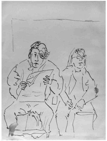 Reisende in der Bahnhofswartehalle, Tuschestift, 1992
