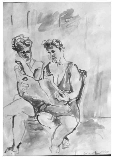 Zwei Frauen mit Zeitung, Tusche auf Papier, 2010