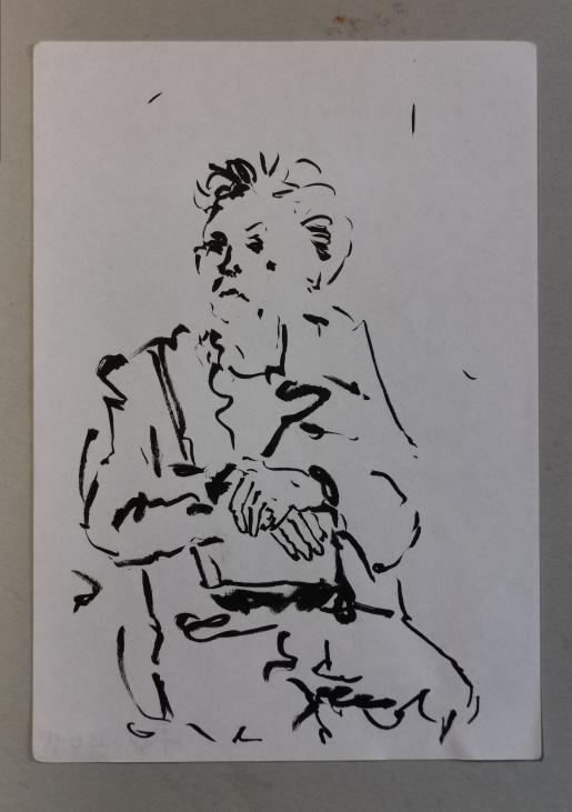Frau in der Bahn, Tusche auf Bütten, 2013