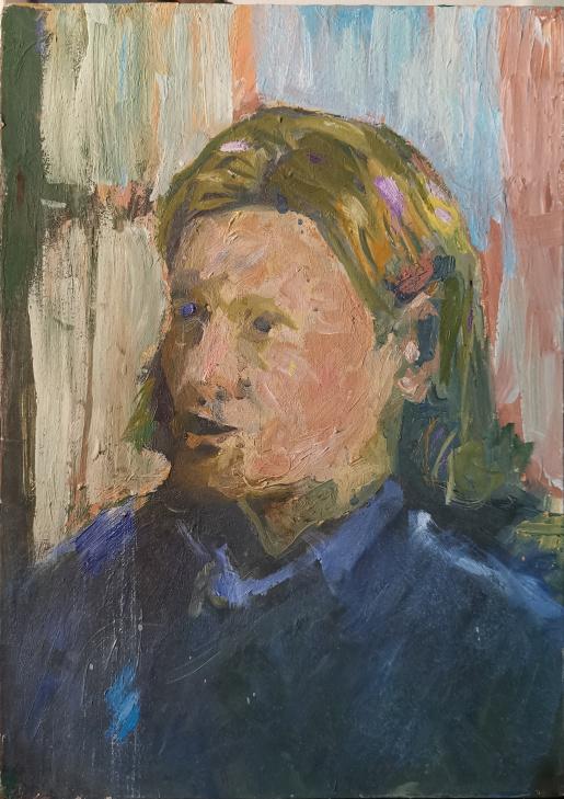 Portrait S.dalldrop, Acryl, Öl & Eitempera auf Holz, 25x30cm, 2004