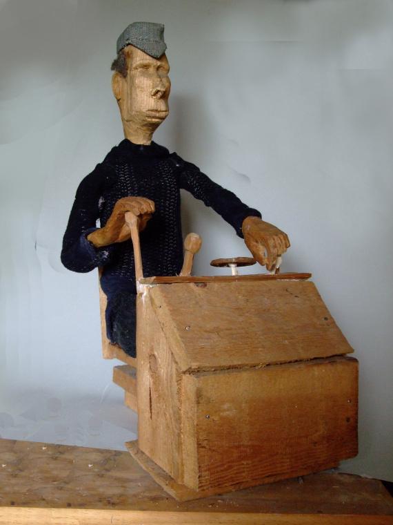 Arbeiter, Gabelstaplerfahrer, 45 x 20 cm, Holz, Textil, 1985