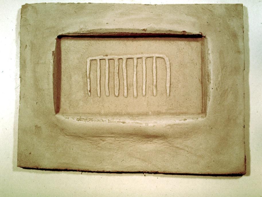 Regenrune, 40 x 30 cm, Prägedruck in Ton, 1982