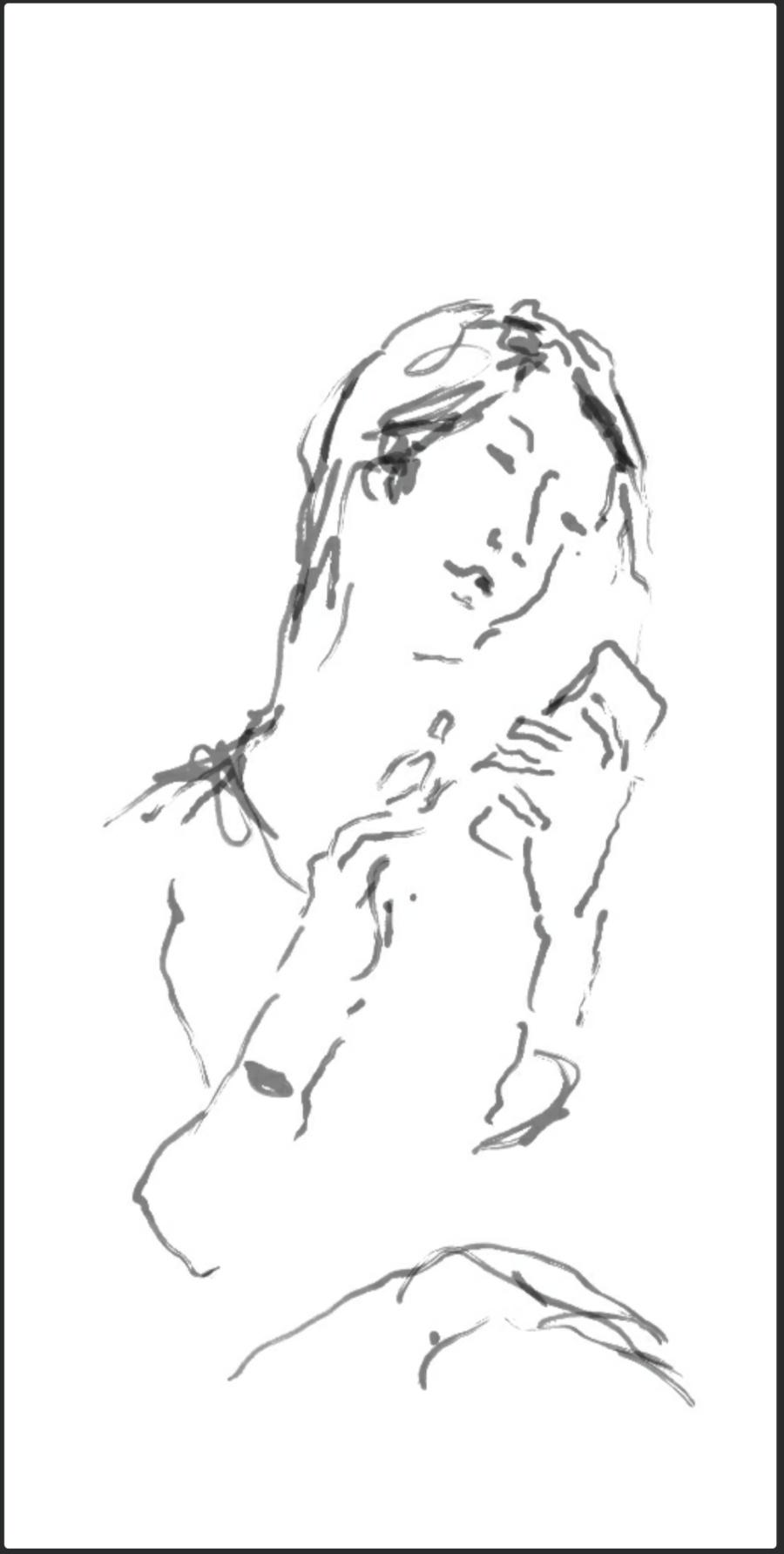 Frau mit smartphone, Screenzeichnung, 2019