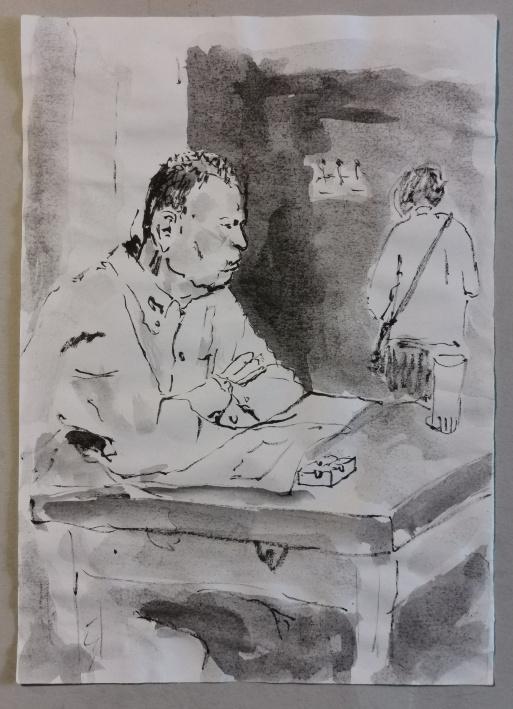 Zeitungsleser, tuschelavierung, 2010