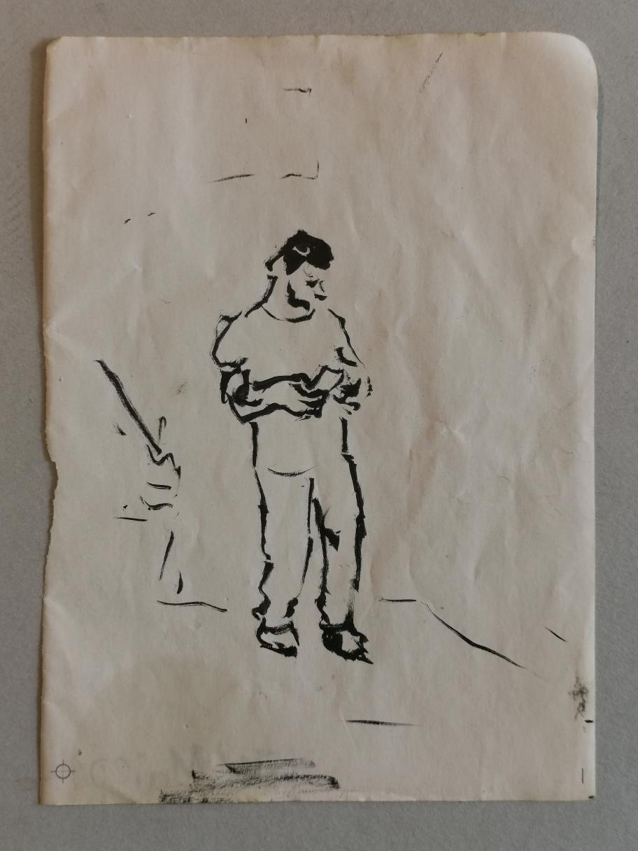 In der Wartehalle, Tusche auf Papier, 2008