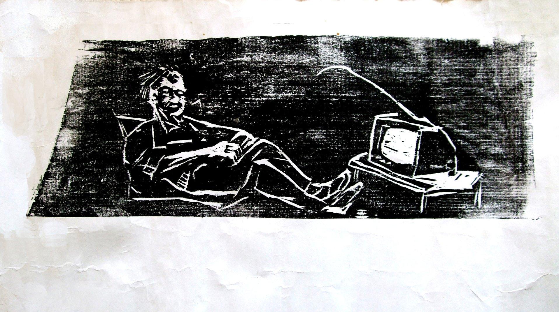 Feierabend, Holzschnitt, 40x20cm, 1989